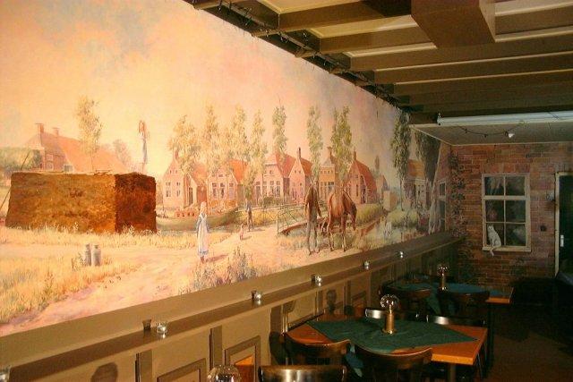 Oud veenkoloniaal dorpsgezicht, acrylverf, 1500 x 175 cm