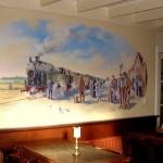 Station en stoomtrein, acrylverf, 500 x 250 cm