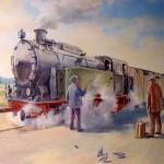 Station en stoomtrein (detail)lverf, 500 x 250 cm