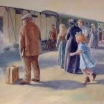 Station en stoomtrein (detail)