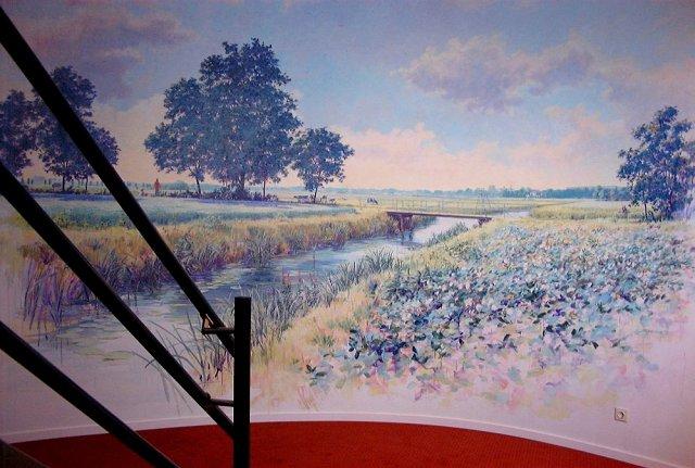 Veenkoloniaal landschap, acrylverf, 500 x 300 cm,