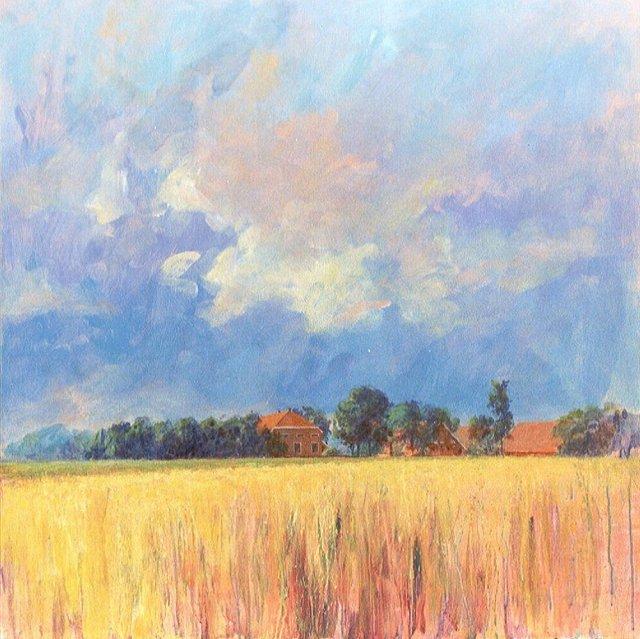 Boerderij bij Weende/Vlagtwedde, acrylverf, 90 x 90 cm, 2001