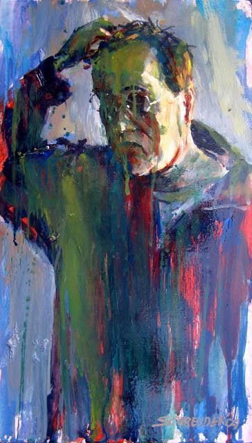 Zelfportret, acrylverf 25 x 44 cm, 2009