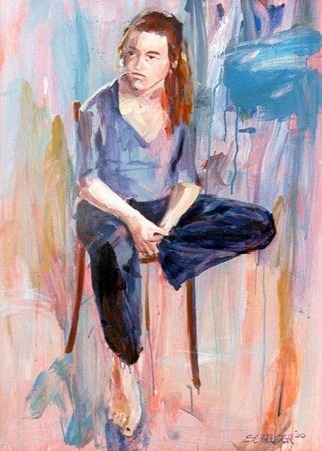 Meisje op stoel, acrylverf, 85 x 110 cm, 2000