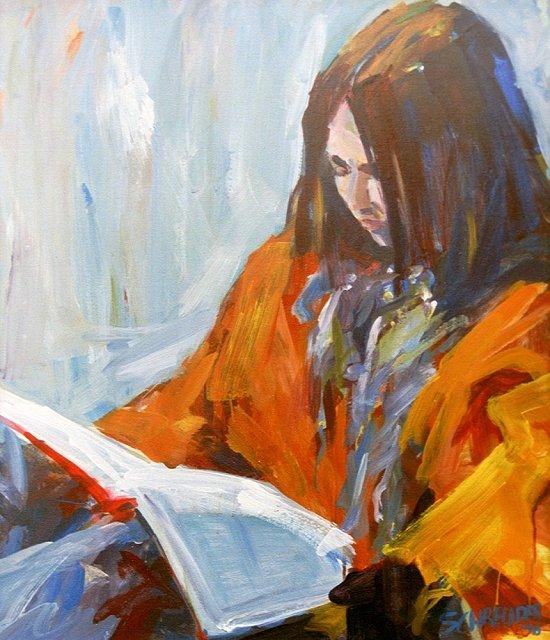 Lezend meisje, acrylverf, 50 x 60 cm, 1996