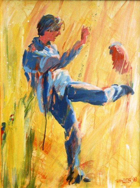 Voetballende zoon, acrylverf, 50 x 60 cm, 1998