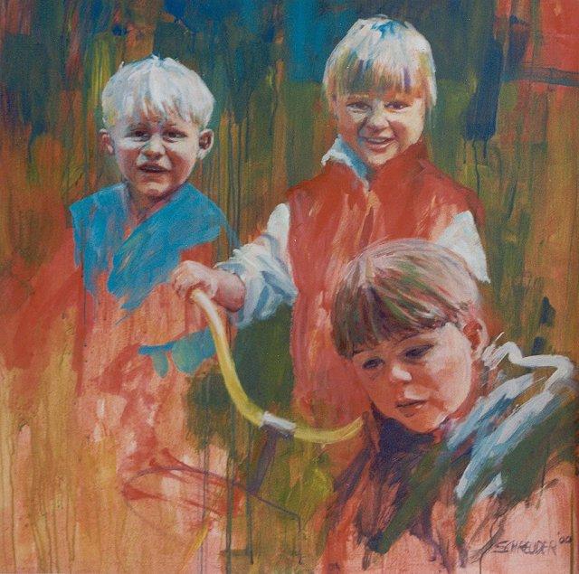 Drie kinderen, acrylverf, 70 x 70 cm, 2000