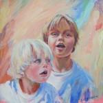 Daan en Joost, acrylverf, 42 x 42 cm, 2005