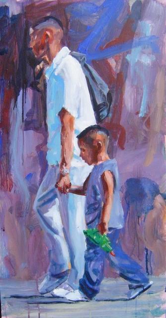 Vader en zoon, acrylverf, 42 x 80 cm, 2006