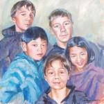 Kleinkinderen J en J., acrylverf, 61 x 61 cm, 2010