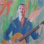 Roos, acrylverf, 40 x 40 cm, 2011