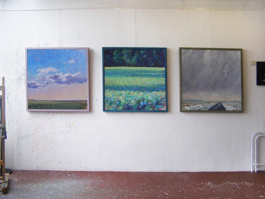 'Natuurgebied' 2012, acryl 100 x 100 cm.  'Bosrand V(schaduwen)' 2010, acryl 100 x 100 cm,  'Winterweg' 2013 olieverf 100 x 100 cm