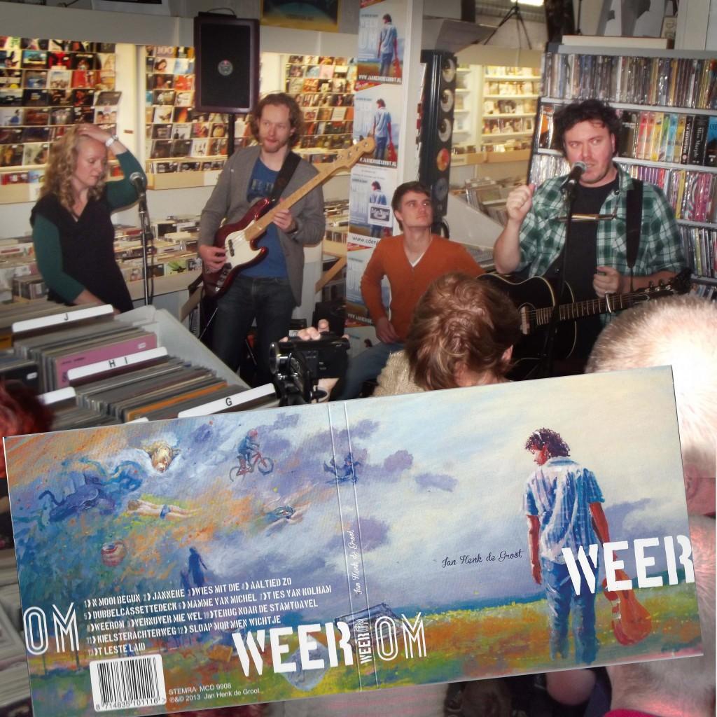 Promotie optreden Jan Henk de Groot bij muziekzaak Evelyn Novacek te Hoogezand