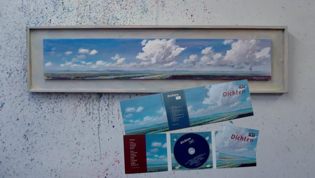 olieverf 44 x 163 cm incl lijst ( vast) voor de hoes van Toerf CD 'Wachten' eigend. G. Ridderbos Peest ¤300.-